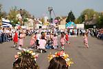 [Stilton village] Cambridgeshire UK 2008. May Fair. May Queen and attendant watch Maypole dancing.