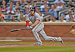 24 July 2012: Washington Nationals infielder Danny Espinosa gets an RBI double against the New York Mets at Citi Field in Flushing, NY. The Nationals defeated the Mets 5-2 to take the second game of their 3-game series. Mandatory Credit: Ed Wolfstein Photo