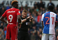 Referee Michael Jones reacts to Bristol City's goalkeeper Frank Fielding pushing in the penalty area<br /> <br /> Photographer Stephen White/CameraSport<br /> <br /> The EFL Sky Bet Championship - Blackburn Rovers v Bristol City - Monday 17th April 2017 - Ewood Park - Blackburn<br /> <br /> World Copyright &copy; 2017 CameraSport. All rights reserved. 43 Linden Ave. Countesthorpe. Leicester. England. LE8 5PG - Tel: +44 (0) 116 277 4147 - admin@camerasport.com - www.camerasport.com