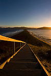 Bruny Neck, between North and South Bruny, looking south. To the left of the steps are burrows of little (fairy) penguins and short tailed shearwaters (muttonbirds)..