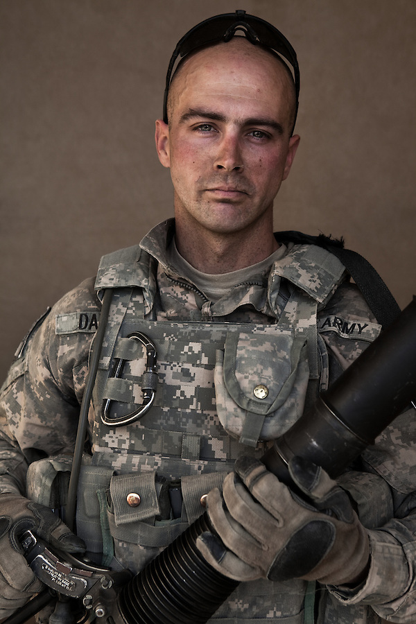 SPC Davis, Timothy  32, Marshfield MA. Charlie Co. 1st Battalion 12th Infantry Regiment, 4th Infantry Division. Photographed at Combat Outpost JFM in Zhari District, Kandahar, Afghanistan.