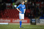 St Johnstone v Partick Thistle&hellip;02.03.16  SPFL McDiarmid Park, Perth<br />A dejected Murray Davidson at full time<br />Picture by Graeme Hart.<br />Copyright Perthshire Picture Agency<br />Tel: 01738 623350  Mobile: 07990 594431