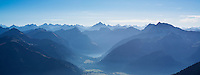 View from Aggenstein (1987m) across Tannheimer Tal and Austrian Alps, Allg&auml;u, Bavaria, Germany