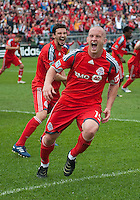 22 May 2010: Toronto FC forward Chad Barrett #19 celebrates his goal in the second half during a game between the New England Revolution and Toronto FC at BMO Field in Toronto..Toronto FC won 1-0.....