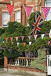 Bunting. Royal Wedding Street Party. Barnes, London UK. 29 April 2011 <br /> Prince William Kate Middleton Princess Catherine