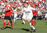 Scott Caldwell #15 of the University of Akron after scoring the winning goal during the 2010 College Cup final against the University of Louisville at Harder Stadium, on December 12 2010, in Santa Barbara, California.Akron champions, 1-0.