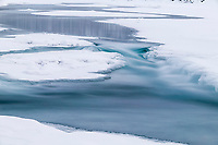 Koyukuk River freezes as winter temperatures drop, Wiseman, Alaska