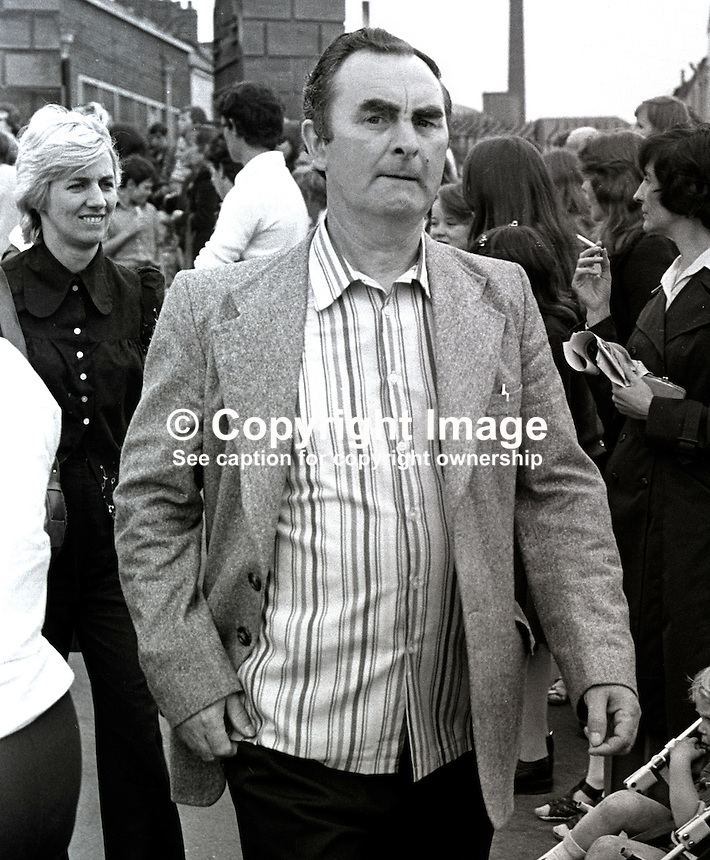 Jimmy Drumm, husband, Maire Drumm, who took part in Falls Road, Belfast, parade to mark 5th anniversary of the introduction of internment. 8th August 1976. The parade was led by his wife, Maire Drumm, vice president, Provisional Sinn Fein. 197608080359JD..Copyright Image from Victor Patterson, 54 Dorchester Park, Belfast, United Kingdom, UK...For my Terms and Conditions of Use go to http://www.victorpatterson.com/Victor_Patterson/Terms_%26_Conditions.html
