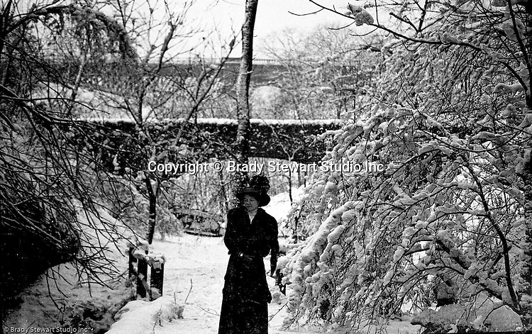 Highland Park PA:  Snow covered walking Path near the Highland Park bridge 1904.  Brady Stewart and his date making a day of it at Highland Park. The Stewart family visited the park often since they lived nearby on Wellesley Avenue in Highland Park.