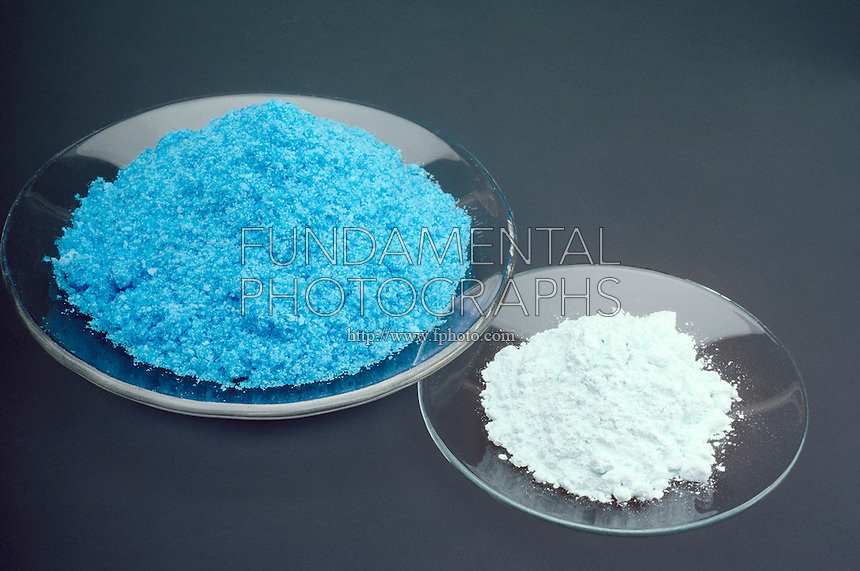 HYDROUS AND ANHYDROUS CUPRIC (II) SULFATE<br /> Hydrated and Dehydrated CuSO4<br /> Hydrous cupric (II) sulfate is a deep blue; when dehydrated the compound becomes lighter and nearly white or whitish blue.