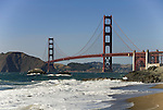 San Francisco: Baker Beach with Golden Gate Bridge in background.  Photo # 2-casanf83398.  Photo copyright Lee Foster