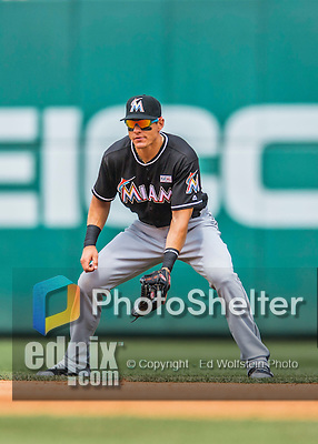 14 May 2016: Miami Marlins second baseman Derek Dietrich in action during the first game of a double-header against the Washington Nationals at Nationals Park in Washington, DC. The Nationals defeated the Marlins 6-4 in the afternoon matchup.  Mandatory Credit: Ed Wolfstein Photo *** RAW (NEF) Image File Available ***