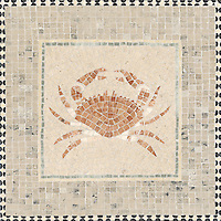Custom mosaic design for crab signage at Ferry Building San Francisco, CA