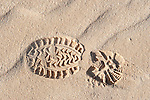 Boot Footprint in sand, Corralejo Dunes National Park (Parque Natural de las Dunas de Corralejo), Fuerteventura, Canary Islands, Spain