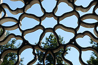 Lattice window in Dr. Sun Yat-Sen Park, Chinatown, Vancouver, British Columbia, Canada