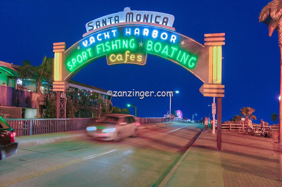 Santa Monica Pier, Sign, Lit at night, Pacific Park, Ca, Gold Coast, Beach City, Santa Monica beach, United States of America, North America,