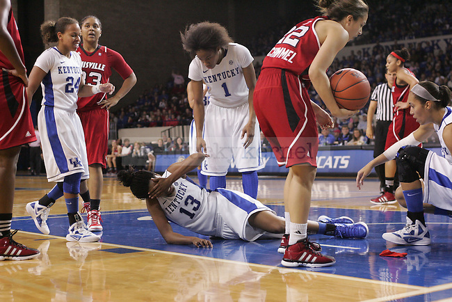 UK guard Bria Goss gets hurt during the second half of the UK Women's basketball game against Louisville on 12/4/11 in Lexington, Ky. Photo by Quianna Lige | Staff