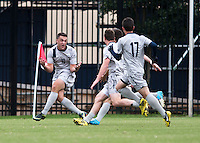Brandon Allen (10) of Georgetown celebrates his game-winning goal with teammates during the game at North Kehoe Field in Washington DC. Georgetown defeated St. John's, 2-1, in the Big East conference tournament quarterfinals.