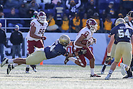 Annapolis, MD - December 3, 2016: Temple Owls wide receiver Keith Kirkwood (89) is tackled by Navy Midshipmen linebacker Micah Thomas (44) after catching a pass during game between Temple and Navy at  Navy-Marine Corps Memorial Stadium in Annapolis, MD.   (Photo by Elliott Brown/Media Images International)
