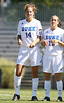 30 September 2007: Duke's Christie MacDonald (14) and Lorraine Quinn (13). The Duke University Blue Devils defeated the Virginia Tech University Hokies 1-0 in sudden death overtime at Koskinen Stadium in Durham, North Carolina in an Atlantic Coast Conference NCAA Division I Women's Soccer game.