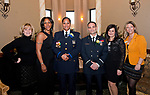 WATERBURY,  CT-032217JS12 --Event co-chairperson Maureen Torrence, Trecia Deyo of New Jersey, with her sister, Waterbury Police Officer of the Year, Andrea Saunders; Waterbury Firefighter of the Year, Lt. Ray Corbo and his wife Elaine Corbo and Megan Charette, President of the Waterbury Exchange Club Charitable Foundation at the Exchange Club of Waterbury's Dr. Lawrence J. Shea Memorial Awards Banquet Wednesday at LaBella Vista in Waterbury. Jim Shannon Republican-American