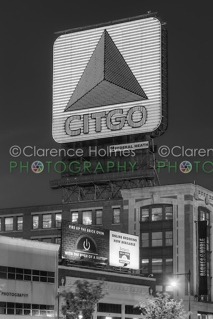 The famous CITGO sign in Kenmore Square during evening twilight, Boston, Massachusetts