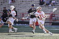 College Park, MD - February 18, 2017: Maryland Terrapins Timothy Monahan (33) attempts a shot during game between High Point and Maryland at  Capital One Field at Maryland Stadium in College Park, MD.  (Photo by Elliott Brown/Media Images International)