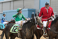 HOT SPRINGS, AR - April 14: Ever So Clever #12 and jockey Luis Contreras are escorted back to the winners' circle after their victory in the Fantasy Stakes at Oaklawn Park on April 14, 2017 in Hot Springs, AR. (Photo by Ciara Bowen/Eclipse Sportswire/Getty Images)