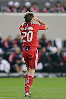 Brian McBride (20) of the Chicago Fire reacts to a missed scoring opportunity during the first half of a Major League Soccer match between the New York Red Bulls and the Chicago Fire at Red Bull Arena in Harrison, NJ, on March 27, 2010. The Red Bulls defeated the Fire 1-0.