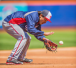 21 April 2013: Washington Nationals third baseman Anthony Rendon fields some grounders prior to making his Major League debut against the New York Mets at Citi Field in Flushing, NY. Rendon was called up to replace Ryan Zimmerman, who was placed on the 15-day Disabled List with a recovering hamstring. The Mets shut out the visiting Nationals 2-0, taking the rubber match of their 3-game weekend series. Mandatory Credit: Ed Wolfstein Photo *** RAW (NEF) Image File Available ***