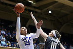 03 December 2015: Duke's Kendall Cooper (21) and Minnesota's Jessie Edwards (AUS) (10). The Duke University Blue Devils hosted the University of Minnesota Golden Gophers at Cameron Indoor Stadium in Durham, North Carolina in a 2015-16 NCAA Division I Women's Basketball game. Duke won the game 84-64.