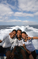 September 5th 2007_ Nusa Penida, Bali, Indonesia_ Crewmembers have a laugh on a dive boat operated by Blue Season in Sanur Bali.  Photograph by Daniel J. Groshong/Tayo Photo Group
