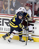 Rhett Bly (Merrimack - 27), Isaac MacLeod (BC - 7) - The Boston College Eagles defeated the visiting Merrimack College Warriors 3-2 on Friday, October 29, 2010, at Conte Forum in Chestnut Hill, Massachusetts.