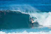 PIPELINE, Oahu, Hawaii (Sunday, December 8, 2013) Bruce Irons (HAW). - The opening day of the Billabong Pipe Masters, in Memory of Andy Irons, commenced today in firing six-to-eight foot (2 metre) waves and the world's best surfers put on an incredible display of technical barrel riding at Pipeline and Backdoor to complete Rounds 1 and 2. The Billabong Pipe Masters is the third and final leg of the Vans Triple Crown of Surfing.<br /> <br /> The final stop on the ASP World Championship Tour (WCT), the Billabong Pipe Masters will decide the 2013 ASP World Title Race, the coveted Vans Triple Crown of Surfing Champion and the final qualification slots for next season's Top 34. <br /> Gabriel Medina (BRA), 19, would put together an amazing show at the iconic lefts of Pipeline to kick off the Billabong Pipe Masters, navigating through a heavy barrel on his opening score to post a near-perfect 9.67. The Brazilian Prodigy would quickly back up the ride, earning an additional 9 point score for another deep Pipe tube punctuated with a massive alley-oop, eliminating Bruce Irons (HAW), 34. Medina's unlikely aerial at Pipeline puts him in the running for a 250,000 mile prize from   Hawaiian Airlines Airshow award.<br /> Sebastian Zietz (HAW), 25, defending Vans Triple Crown of Surfing Champion, immediately found his rhythm at Pipeline, earning the first perfect 10-point ride of Billabong Pipe Masters competition for an unbelievable Backdoor barrel.<br /> Photo: joliphotos.com