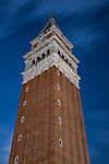 A night view of the San Marco bell tower in San Marco square, Venice, Italy. Taken on a night with full moon
