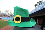 25 April 2016: Notre Dame leprechan hat. The University of North Carolina Tar Heels hosted the University of Notre Dame Fighting Irish at Anderson Stadium in Chapel Hill, North Carolina in a 2016 NCAA Division I softball game. UNC won the game 7-6.
