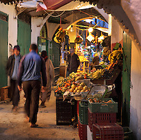 A busy souq or market in the medina or old town of Tetouan, on the slopes of Jbel Dersa in the Rif Mountains of Northern Morocco. Tetouan was of particular importance in the Islamic period from the 8th century, when it served as the main point of contact between Morocco and Andalusia. After the Reconquest, the town was rebuilt by Andalusian refugees who had been expelled by the Spanish. The medina of Tetouan dates to the 16th century and was declared a UNESCO World Heritage Site in 1997. Picture by Manuel Cohen