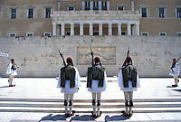 Athens, Greece, Europe, Parliament, Changing of the Guards (evzones) ceremony at the House of the Greek Parliament at Plateia Syntagmatos (Constitution Square) in downtown Athens.