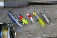 NWA Democrat-Gazette/FLIP PUTTHOFF <br /> A twister-tail minnow (left) and jigs of various styles    Sept. 24 2015   are ideal for Lake Sequoyah crappie fishing.