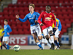 St Johnstone Academy v Manchester United Academy....17.04.15   <br /> Venancio Da Silva Monteiro and Sean Struthers<br /> Picture by Graeme Hart.<br /> Copyright Perthshire Picture Agency<br /> Tel: 01738 623350  Mobile: 07990 594431