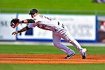 2 March 2010: New York Mets' shortstop Luis Hernandez is unable to come up with an infield liner by the Atlanta Braves during the Opening Day of Grapefruit League play at Tradition Field in Port St. Lucie, Florida. The Mets defeated the Braves 4-2 in Spring Training action. Mandatory Credit: Ed Wolfstein Photo