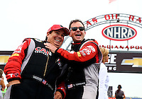 Sept. 2, 2013; Clermont, IN, USA: NHRA top fuel dragster driver Steve Torrence (right) with father Billy Torrence during the US Nationals at Lucas Oil Raceway. Mandatory Credit: Mark J. Rebilas-