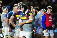 Kane Palma-Newport of Bath Rugby celebrates scoring a try. Aviva Premiership match, between Harlequins and Bath Rugby on November 27, 2016 at the Twickenham Stoop in London, England. Photo by: Patrick Khachfe / Onside Images