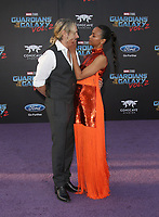 HOLLYWOOD, CA - April 19: Zoe Saldana, Marco Perego, At Premiere Of Disney And Marvel's &quot;Guardians Of The Galaxy Vol. 2&quot; At The Dolby Theatre  In California on April 19, 2017. <br /> CAP/MPI/FS<br /> &copy;FS/MPI/Capital Pictures