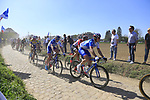 The peloton including Arnaud Demare (FRA) FDJ on pave sector 29  Troisvilles a Inchy during the 115th edition of the Paris-Roubaix 2017 race running 257km Compiegne to Roubaix, France. 9th April 2017.<br /> Picture: Eoin Clarke | Cyclefile<br /> <br /> <br /> All photos usage must carry mandatory copyright credit (&copy; Cyclefile | Eoin Clarke)