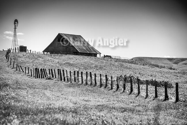 Windmill, barn, fence, rural Stanislaus Co., Calif.