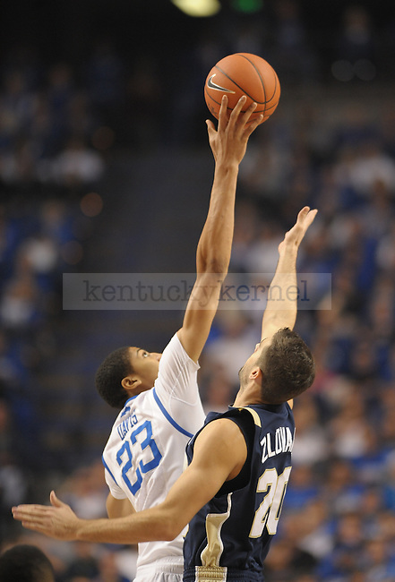 Anthony Davis (23) wins the tip off to start the first half of the University of Kentucky Basketball game against Chattanooga at Rupp Arena in Lexington, Ky., on 12/17/11.  Photo by Mike Weaver   Staff