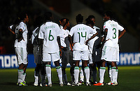 Team Nigeria at a power blackout during the FIFA Women's World Cup at the FIFA Stadium in Dresden, Germany on July 5th, 2011.