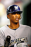 22 August 2009: Milwaukee Brewers' infielder Alcides Escobar returns to the dugout during a game against the Washington Nationals at Nationals Park in Washington, DC. The Brewers defeated the Nationals 11-9 in the second game of their four-game series. Mandatory Credit: Ed Wolfstein Photo