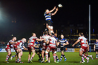 Tom Ellis of Bath Rugby rises high to win lineout ball. Anglo-Welsh Cup match, between Bath Rugby and Gloucester Rugby on January 27, 2017 at the Recreation Ground in Bath, England. Photo by: Patrick Khachfe / Onside Images
